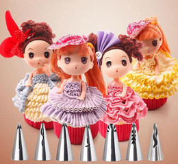 Wholesale Cake Decorating Tools Wholesale - 7 style Stainless Steel Cake Pastry Nozzles Cute Barbie skirt Nozzles Russian Piping Tips Creative Cake Decorating Tools