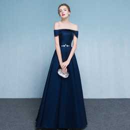 Wholesale Thick Robes - SSYFashion Simple Elegant Dark Blue Thick Satin Long Evening Dress Bride Banquet Floor-length Formal Party Gown Robe De Soiree