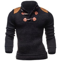 Wholesale Men S Double Breasted Sweaters - Wholesale- 2016 Men's Autumn Winter Knitted Long Sleeve Sweater Fashion Pullover Horn Button Sweater Free Shipping SMJ2335