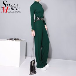 Wholesale Korean Jumpsuit Rompers - Wholesale- 2017 Korean Style One piece Long Jumpsuit For Women Green Stretch Long Sleeve Rompers Cotton Casual Jumpsuit Overalls Femme 1753