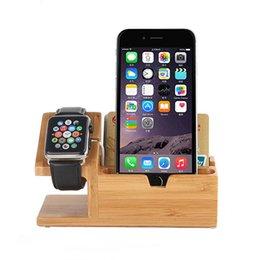 Wholesale Mobile Phone Charging Stands - Multi Function Charging Mobile Phone Stand 3 USB Ports Wood Phone Holder for Andriod and IOS system