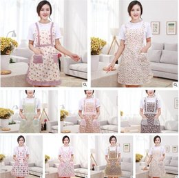 Wholesale Cook Clothing - Women Aprons with Pocket Cooking Ruffle Chef Floral Kitchen Restaurant Princess Apron Polyester Kindergarten Clothes Bib with Pockets