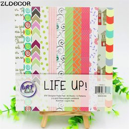 Wholesale Free Paper Backgrounds - Wholesale- ZLDECOR 6'' Acid-Free Life Up Pattern Decorative Scrapbooking paper set of 36sheets printed background craft paper