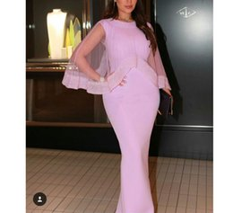 Wholesale Long Red Glitter Dresses - Luxury Satin Pink Mermaid Prom Dresses 2018 With Wraps Formal Arabic Evening Gown Glitter Beading Long Floor Length Dress For Birthday Party