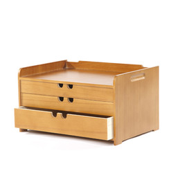 Wholesale Wooden Storage Drawers - tool cabinet case A4 Wooden desk storage drawer debris cosmetic storage box bin jewelry office Creative gift Home