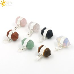 Wholesale Green Sand Stone - CSJA New Fashion Natural Gem Stones Necklace Charms Pendant Green Aventurine Blue Sand Stone Pink Rose Quartz Crystal Opal Pendants E008