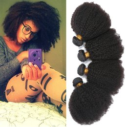 """Wholesale Short Afro Kinky Curl - 7a Brazilian Remy Afro Kinky Virgin Hair 3pcs Brazilian Short Natural Black Kinky Curly Afro Curl Human Hair Weave 8""""-20"""""""