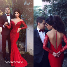 Wholesale Transparent Lace Prom Dresses - 2017 Fashion Transparent Neck Long Sleeves Floor Length Lace Prom Dress Formal Evening Party Gown Custom Made Plus Size