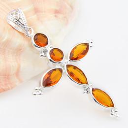 Wholesale Brazil Indians - 2pcs lot Cheap Unisex Wholesale Jewelry Christian Brazil citrine Gemstone Cross Pendant WISH Peridot New Pendant