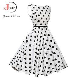 Wholesale Polka Dot Swing - Ladies Summer Casual Dress Women 2017 Polka Dot Retro Swing Gown Pin up Robe Vintage 60s 50s Rockabilly Dresses Plus Size WQ0974