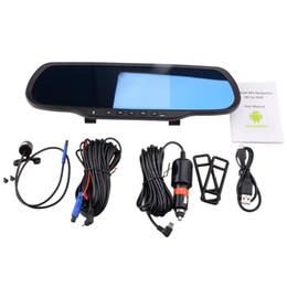 Espejos de cámara gps online-BEIBEIKA 5.0inch Touch RAM 1GB ROM 8GB Android GPS Espejo de navegación Coche DVR doble lente cámara trasera estacionamiento Bluethooth espejo sin manos dvr