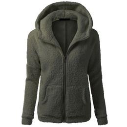 Wholesale Warm Womens Jackets - Wholesale- Womens Winter Warm Long Sleeve Thicken Fleece Coat Hooded Parka Overcoat Jacket Outwear