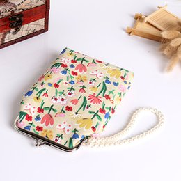 Wholesale Iphone Purse Girls - Wholesale- 2016 Hot Selling Women Cat Flower Giraffe Girl Faux Pearls Wallet Purse Mini Phone Bag for iPhone