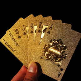 Wholesale Play Grade - Wholesale-Appealing High Grade 24K Gold Foil Poker Lattice Grid Pattern Playing Cards new