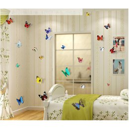 Wholesale Vintage Animal Decals - #AA 19pcs 3D Butterfly wall stickers home decor Sticker on the Art Wall decal Mural for creative vintage Home appliances kids rooms