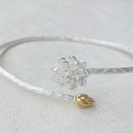 Wholesale Sterling Silver Bangles Valentine - 925 Sterling Silver Pretty Lotus bracelet Adjustable Fine Jewelry open cuff Bangles for women valentine birthday gift