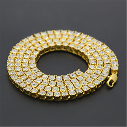 Wholesale Diamond Row Chains - Mens Gold Silver Plated Iced Out 20-30inch 1 Row Simulated Diamond Bling Tennis Chain Necklace Hip Hop Jewelry