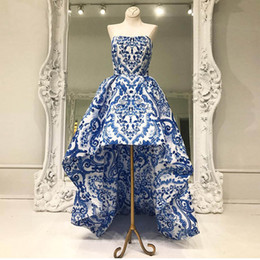 Wholesale Runway Print Long Dress - 2017 New Arrival Straplss Blue Floral Printed Evening Dresses Custom made Front Short Long Back Cheap Foral Evening Gowns HB17