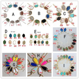 Wholesale Wholesale Arrowhead Charms - Popular Hexagon Drusy Druzy Necklace Arrowhead Earrings 10 Colors Silver Gold Plated Geometry Oval Stone Necklaces KS For women