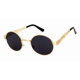 Wholesale Unique Cat - Fashion Metal Frame Steampunk Sunglasses Women Brand Designer Unique Men Gothic Sun glasses Vintage Metal New Design round Sunglasses