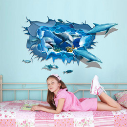 Wholesale Wall Decal Sea Removable - sea landscape stickers 3D fish whale to DIY PVC removable kids room decor decals Wall Sticker..