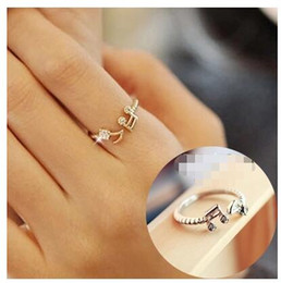 Wholesale Cute Gift For Wedding - ra267 Cute Musical Note Adjustable Openings Imitation Rhinestone Midi Rings for Women Jewelry