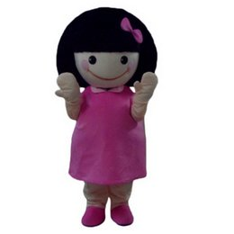 Wholesale Pink Sz L - girl Mascot Costumes Cartoon Character Adult Sz 100% Real Picture 001