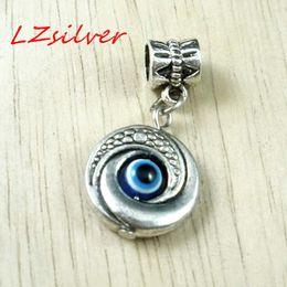 Wholesale Evil Eye Silver Charm - MIC 80 Pcs Antique silver EVIL EYE Kabbalah Charm Dangle Bead Fit Charm Bracelet 10x30mm DIY Jewelry
