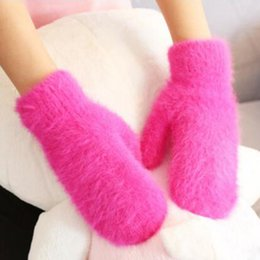 Wholesale Cashmere Rabbit Gloves - Wholesale- Fashion Girls' Winter Women Cashmere Gloves Wrist Mittens Wool rabbit hair Knit Gloves Warmer Luva female Guantes Mujer Q1