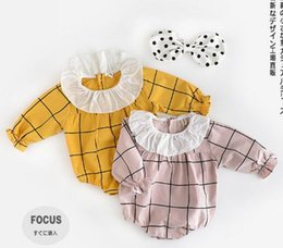 Wholesale Down Romper - INS new arrivals baby kids climbing romper long sleeve plaid print big turn down collar romper girl kids romper kids rompers 0-2T