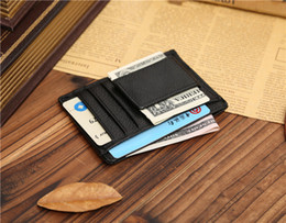 Wholesale Leather Front Pocket Wallet - Men Purse Wallet Front Pocket Genuine Leather Multi Functional Card Holder Magnet Money Clip Mens Wallet Black