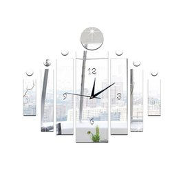 Wholesale Home Television Sets - 3D mirror wall stickers wall clock simple number Creative Home Decor DIY Removable Decoration Sticker 2017 14pcs set wholesale Free delivery