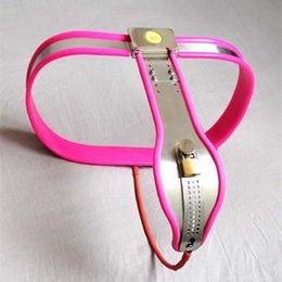 Cintura de castidade feminina enforcer on-line-Cinto de castidade de Aço Inoxidável Ajustável Virgindade Calças Dispositivo de Castidade Enforcer Sex Toys Chastity Banda para Fêmea G7-5-34