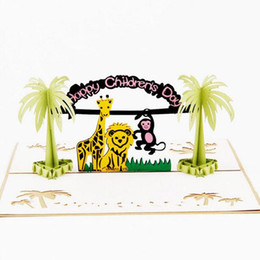 Wholesale Wholesale Laser Cut Animals - (10 piece lot)Free Shipping 3D Pop Up Laser Cut Cartoon Happy Zoo Animals Creative Child Gift Happy Children's Day Greeting Card