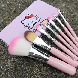 Wholesale Make Up Beauty Case - 7pcs set Hello Kitty Make Up Cosmetic Brush Kit Makeup Brushes Pink Iron Case Toiletry makeup tools Beauty Appliances pincel maquiagem pince
