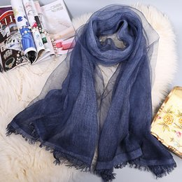 Wholesale Beautiful Shawls - 195cm*70cm gradient solid color 50% silk and 50% cotton scarf plain tie dyed beautiful girl long and soft girlfriend gift