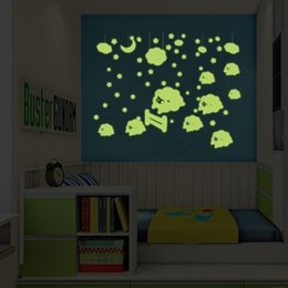 Wholesale moon sticker glow wall - Y0043 Night Light Luminous Stickers Home Decor Glowing Wall Sticker for Kids Rooms Wall Decals Cute Cloud And Moon