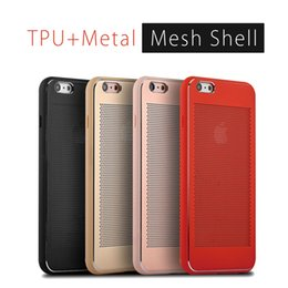 Wholesale Lg Mobile Phones Battery - Luxury Shockproof Mobile Phone Cases For iPhone 7 6 6s Plus TPU+Metal Mesh Shell For iPhone 7 Phone Cases with Retail Package