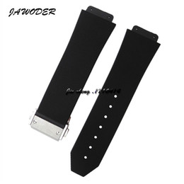 Wholesale 23mm Button - JAWODER Watchband 23mm 26mm Men Stainless Steel Deployment Clasp Black Diving Silicone Rubber Watch Band Strap for HUB Big Bang