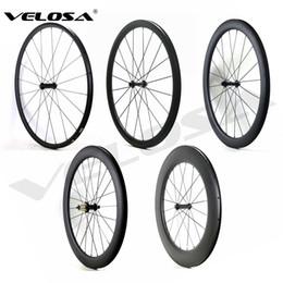 Wholesale 24mm carbon wheels - Outlet 700C road bike Carbon Wheels 24mm 38mm 50mm 60mm 88mm Tubular Clincher Super Light Carbon Wheelset