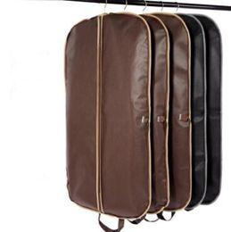 Wholesale Garment Zippers Bags - Black Coat Clothes Garment Suit Cover Bags Dustproof Hanger Storage Protector Travel Storage Organizer Case With Zipper CCA6890 50pcs