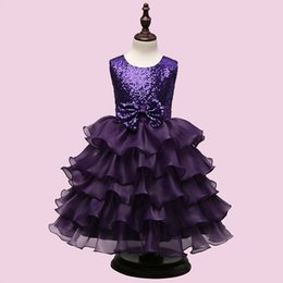 Wholesale Red Gown For Princess Kids - 3 Color Girls Party Wear cake Dress Kids New Sequins Children Wedding Birthday princess bowknot dresses For Girls Kids Clothing B001