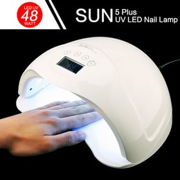 Wholesale Flashlight Lamps - Fashion SUN5 Plus LED nail UV lamp high quality intelligent induction nail dryer 48 W  24 W double light source LED nail lamp dryer