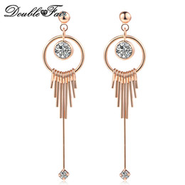 Wholesale Unique Earrings For Women - New Unique Chic CZ Diamond Rose White Gold Plated Dangle Earrings Wholesale Jewelry For Women Party Gift DFE783   DFE784