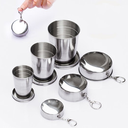 Wholesale Design Convenient - Creative Telescopic Folding Cups Stainless Steel Mug Three Fold Design Wine Glass Tea Cup With Key Ring Mugs Convenient 6 98sh3