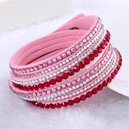 Wholesale Bracelet Cristal - Wholesale-Nouveau mode en cuir bijoux en strass Bracelet Wrap multicouche Bracelet cristal Bracelets pour les femmes pulseiras mulher 2016