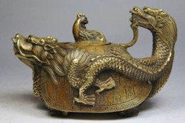 Wholesale Copper Tea Pots - CHINESE OLD COPPER HANDWORK DRAGON TEA POT
