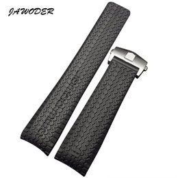 Wholesale Formula Black - JAWODER Watchband 24mm Black Diver Silicone Rubber Curved End Watch Band Strap with Stainless Steel Deployment Clasp for Formula One Series