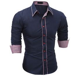 Wholesale Mens Dress Shirt Color Solid - Brand 2017 Fashion Male Shirt Long-Sleeves Tops Simple Solid Color Hit Color Side Mens Dress Shirts Slim Men Shirt 3XL