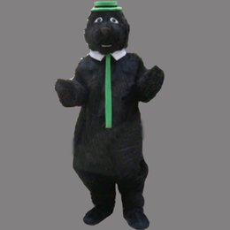 Wholesale Green Bear Mascot Costumes - Black Bear With Green Hat Mascot Costume Fancy Party Dress Halloween Costumes Adult Size High Quality free shipping